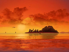 3D Tropical Sunset