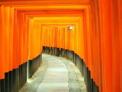 Red Hallway in Japan
