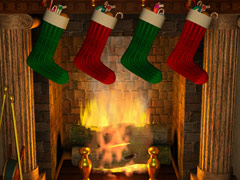 3D Stockings Over Fireplace